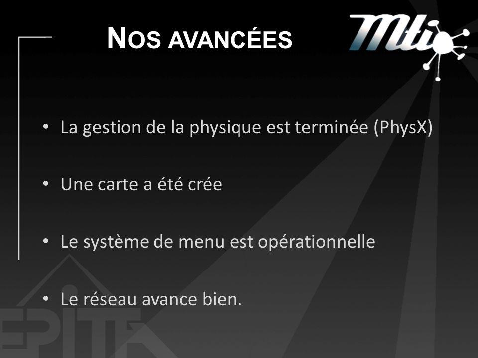 N OS AVANCÉES La gestion de la physique est terminée (PhysX) Une carte a été crée Le système de menu est opérationnelle Le réseau avance bien.