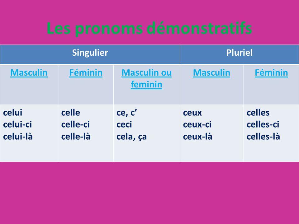 Les pronoms démonstratifs SingulierPluriel MasculinFémininMasculin ou feminin MasculinFéminin celui celui-ci celui-là celle celle-ci celle-là ce, c ce
