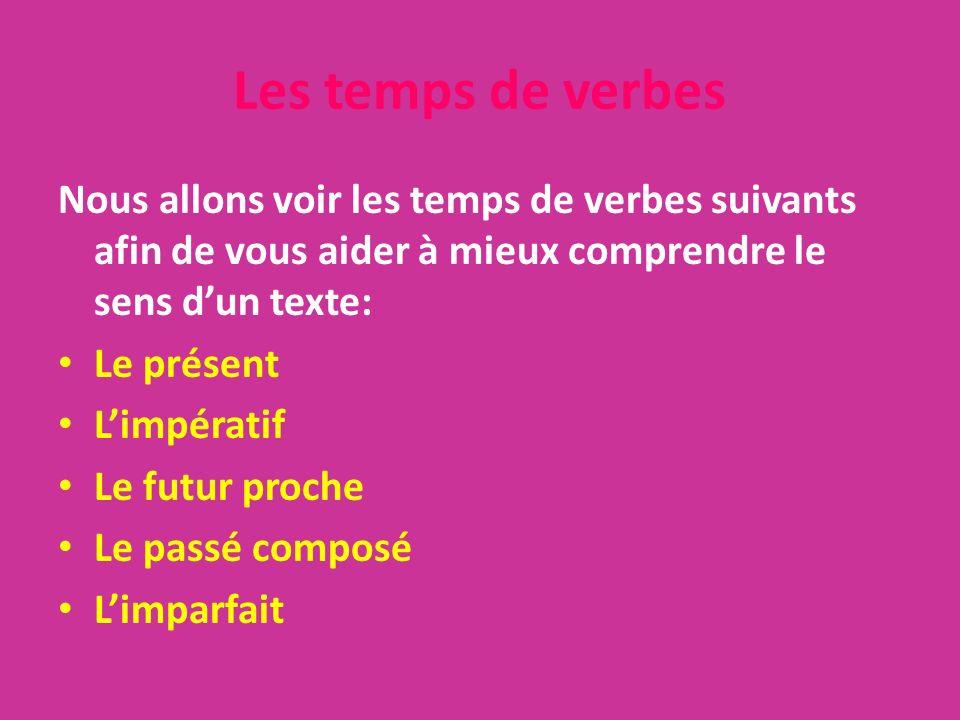Les temps de verbes Nous allons voir les temps de verbes suivants afin de vous aider à mieux comprendre le sens dun texte: Le présent Limpératif Le fu