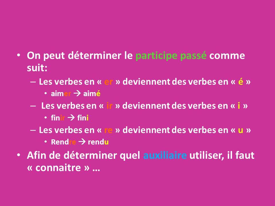 On peut déterminer le participe passé comme suit: – Les verbes en « er » deviennent des verbes en « é » aimer aimé – Les verbes en « ir » deviennent d