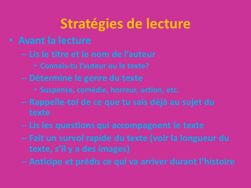 Stratégies de lecture (cont)