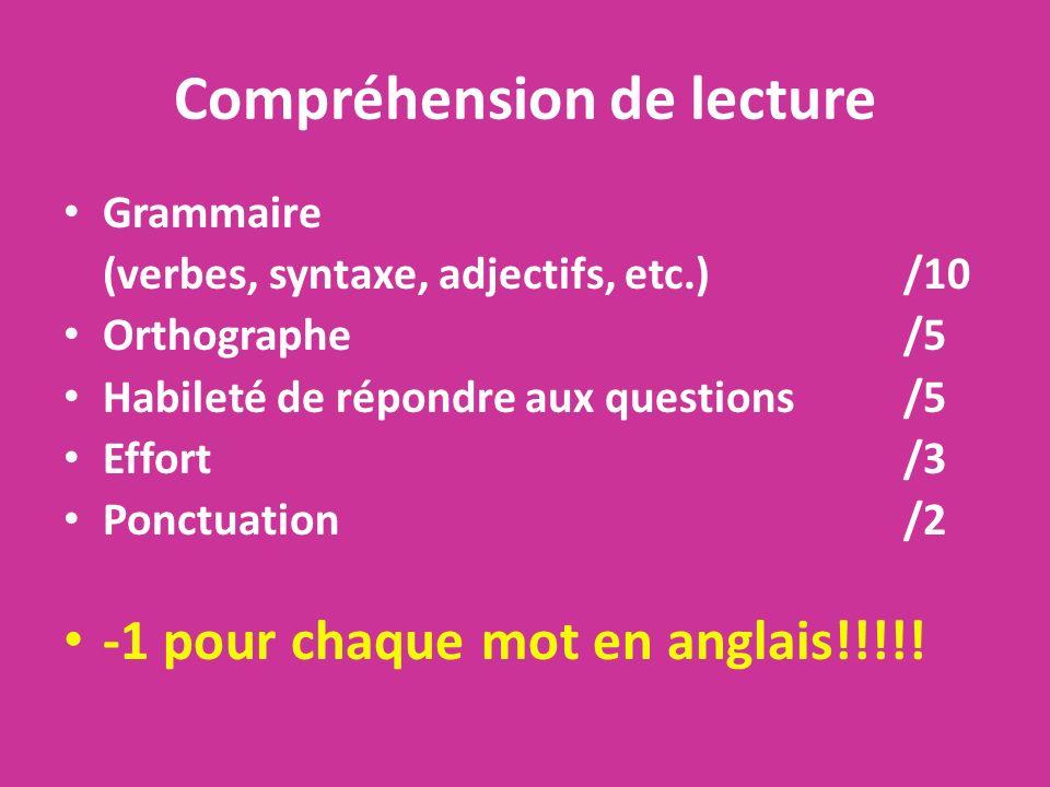 Compréhension de lecture Grammaire (verbes, syntaxe, adjectifs, etc.)/10 Orthographe/5 Habileté de répondre aux questions/5 Effort /3 Ponctuation/2 -1