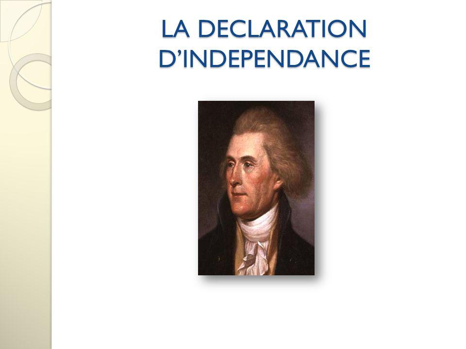 Le Congrès a choisi 5 personnes pour écrire un document qui expliquait pourquoi les colonies devaient devenir indépendantes.