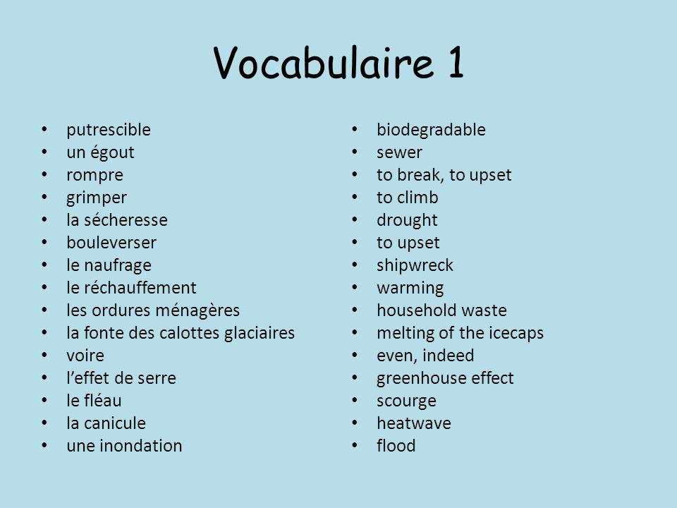 Vocabulaire 1 putrescible un égout rompre grimper la sécheresse bouleverser le naufrage le réchauffement les ordures ménagères la fonte des calottes g