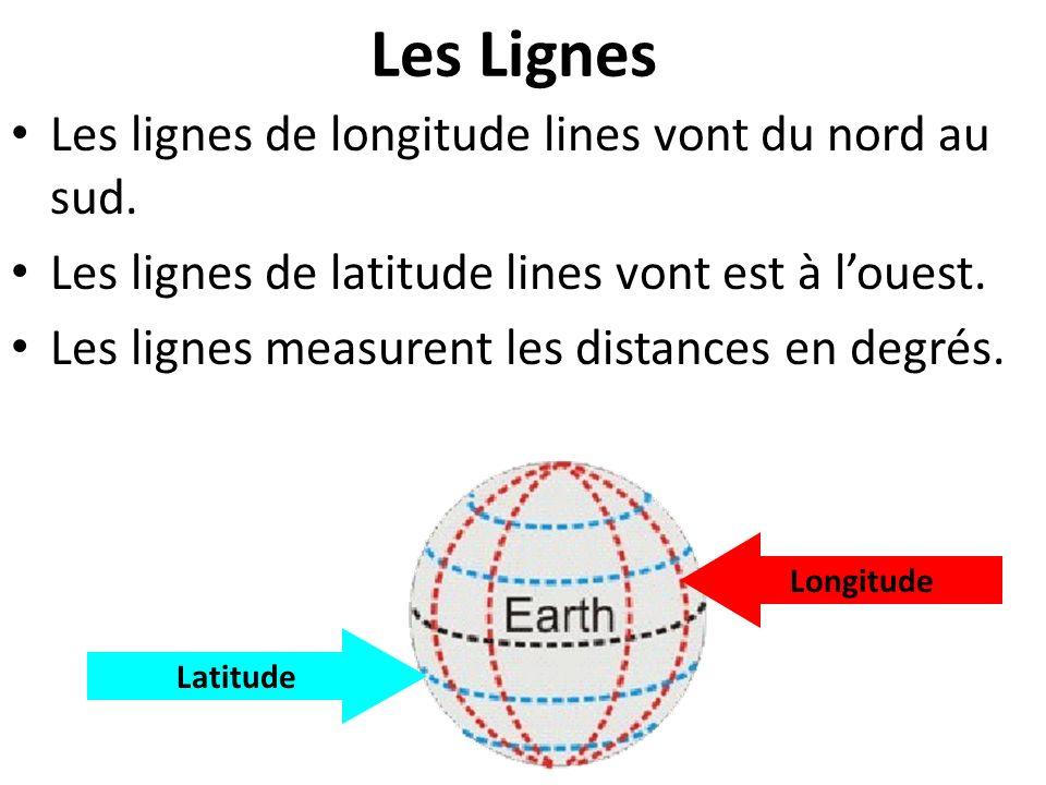Les Lignes Les lignes de longitude lines vont du nord au sud. Les lignes de latitude lines vont est à louest. Les lignes measurent les distances en de