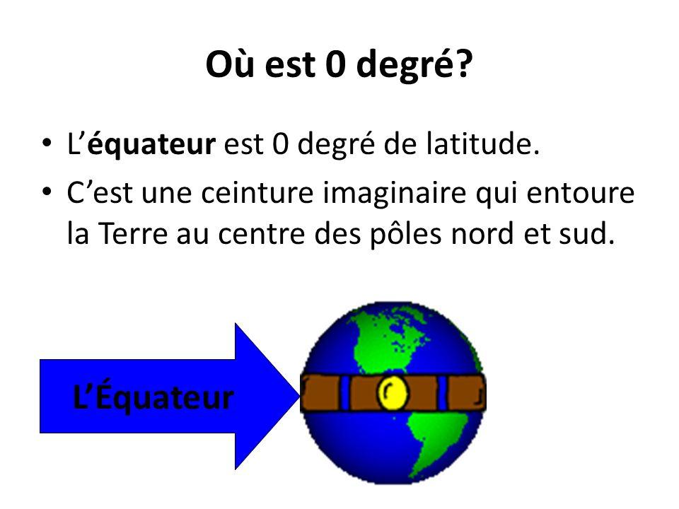 Où est 0 degré? Léquateur est 0 degré de latitude. Cest une ceinture imaginaire qui entoure la Terre au centre des pôles nord et sud. LÉquateur