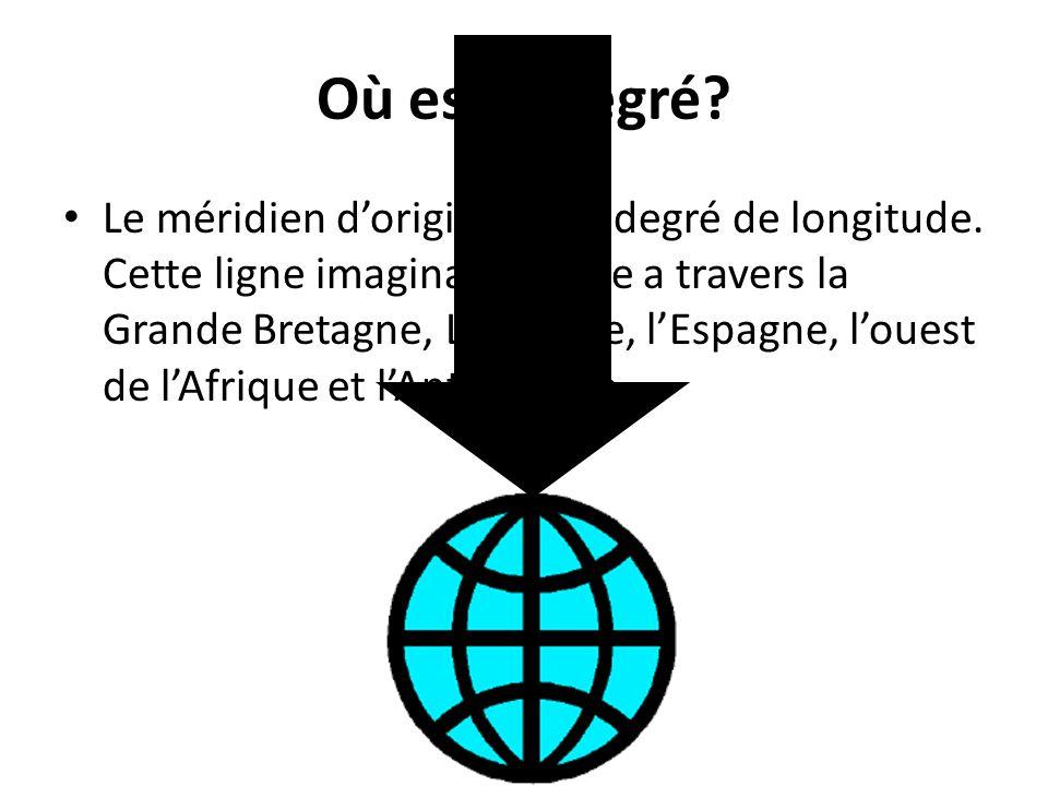 Où est 0 degré? Le méridien dorigine est 0 degré de longitude. Cette ligne imaginaire passe a travers la Grande Bretagne, La France, lEspagne, louest