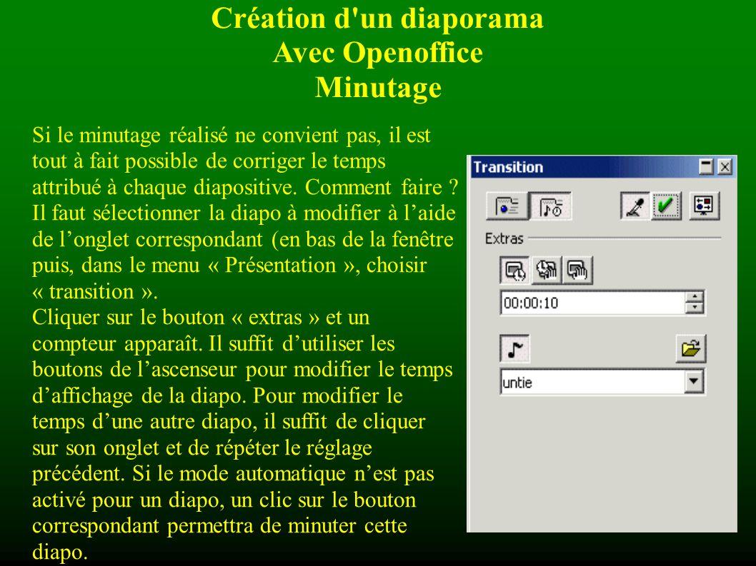 Création d un diaporama Avec Openoffice Minutage Dans le bas de l écran s affiche le compteur ci-contre dans lequel s affiche le nombre de secondes (ou de minutes) durant lesquelles la diapositive sera affichée.