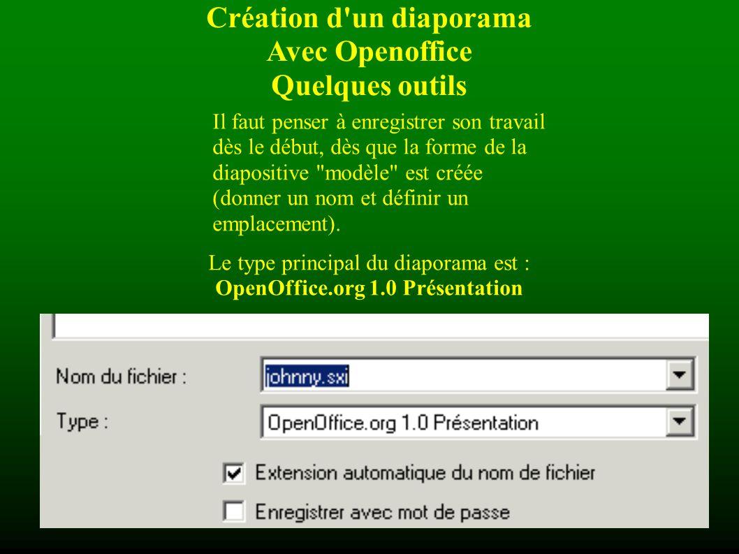 Création d un diaporama Avec Openoffice Quelques outils Dans le menu Présentation à lécran- Transition , il est possible de paramétrer des événements sur chaque diapositive (par exemple le type dapparition dune diapositive ou le son qui laccompagne).