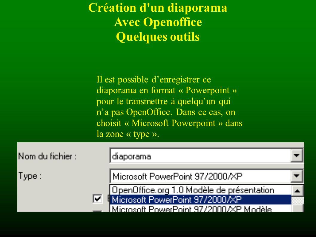 Création d un diaporama Avec Openoffice Quelques outils Il faut penser à enregistrer son travail dès le début, dès que la forme de la diapositive modèle est créée (donner un nom et définir un emplacement).