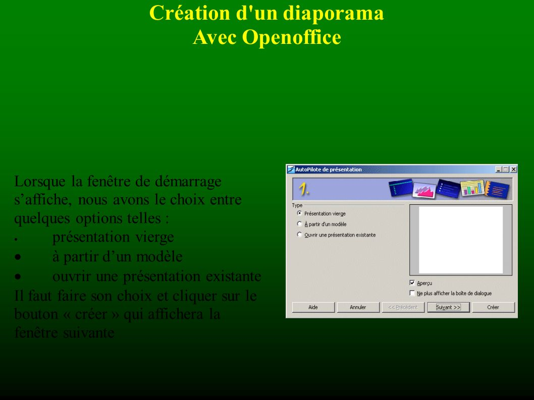 Création d un diaporama Avec Openoffice Minutage Si le minutage réalisé ne convient pas, il est tout à fait possible de corriger le temps attribué à chaque diapositive.