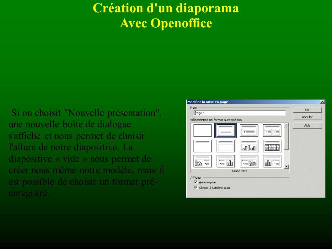 Création d un diaporama Avec Openoffice Lorsque la fenêtre de démarrage saffiche, nous avons le choix entre quelques options telles : présentation vierge à partir dun modèle ouvrir une présentation existante Il faut faire son choix et cliquer sur le bouton « créer » qui affichera la fenêtre suivante