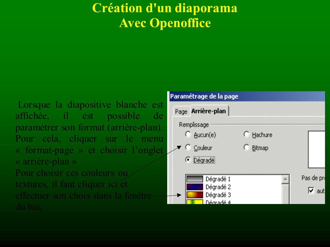 Création d un diaporama Avec Openoffice Dans chaque cas, il faut valider son choix avec le bouton OK .