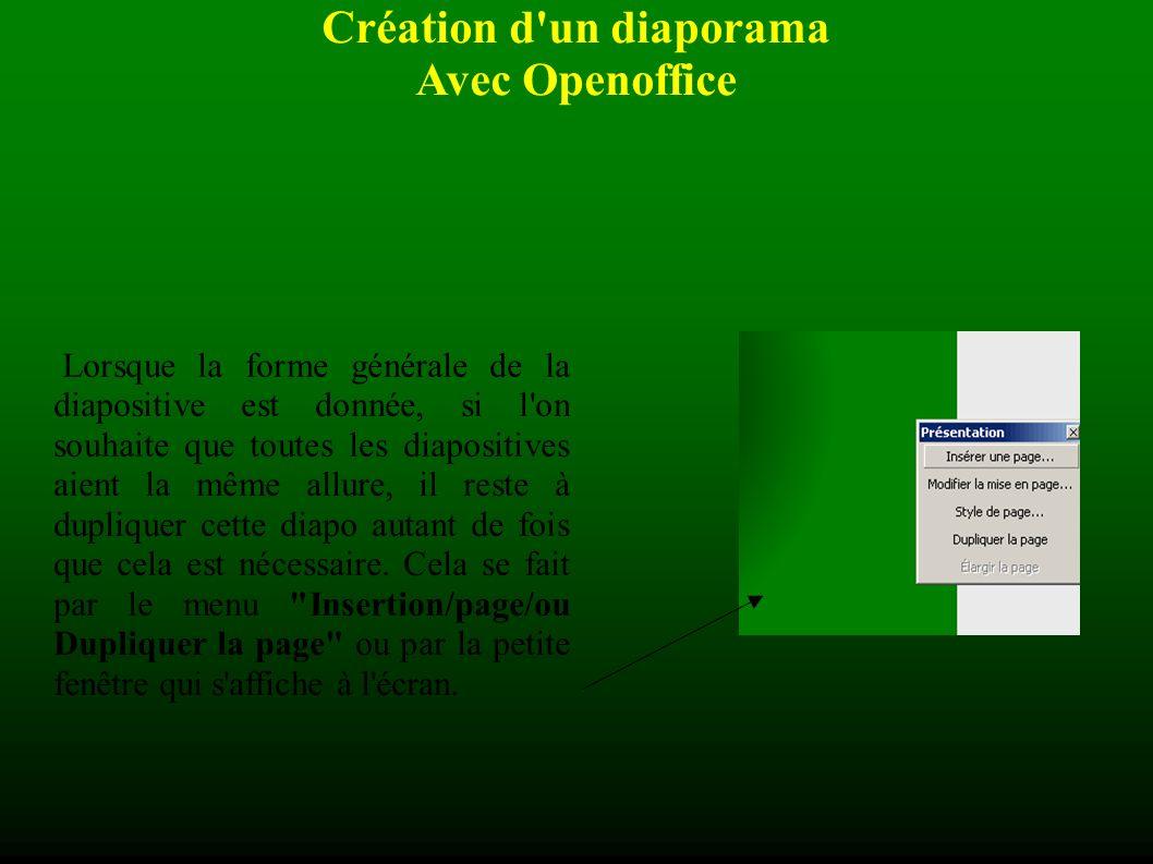 Création d un diaporama Avec Openoffice Lorsque la forme générale de la diapositive est donnée, si l on souhaite que toutes les diapositives aient la même allure, il reste à dupliquer cette diapo autant de fois que cela est nécessaire.