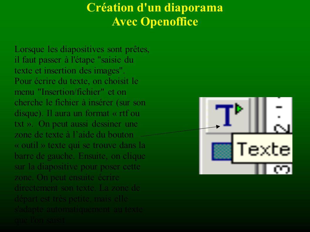 Création d un diaporama Avec Openoffice Lorsque les diapositives sont prêtes, il faut passer à l étape saisie du texte et insertion des images .