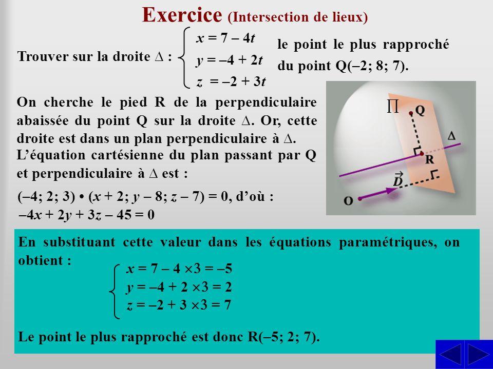 SSS Exercice (Intersection de lieux) Trouver sur la droite : x = 7 – 4t y = –4 + 2t z = –2 + 3t le point le plus rapproché du point Q(–2; 8; 7). En su