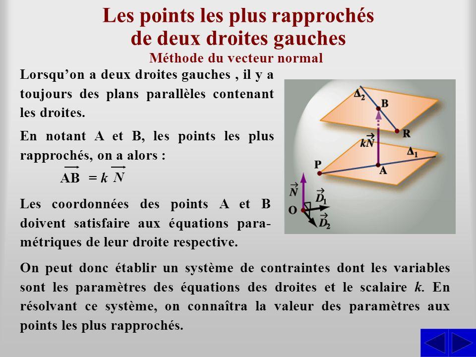 Les points les plus rapprochés de deux droites gauches Lorsquon a deux droites gauches, il y a toujours des plans parallèles contenant les droites. Mé