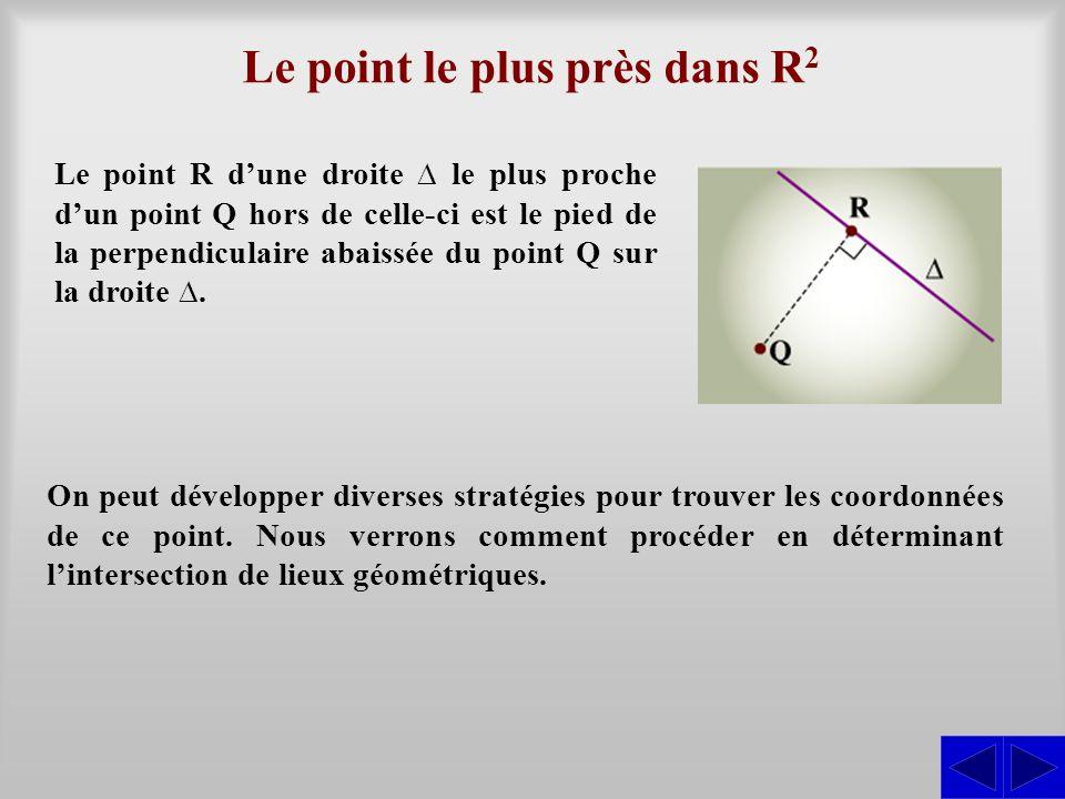 Le point le plus près dans R 2 On peut développer diverses stratégies pour trouver les coordonnées de ce point. Nous verrons comment procéder en déter