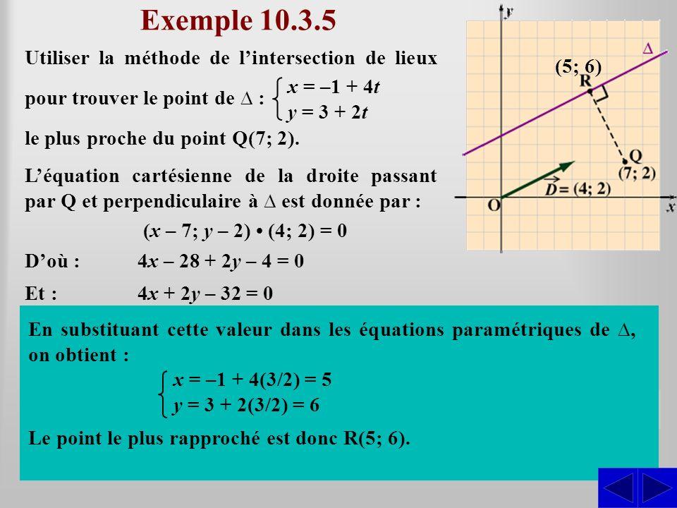 Exemple 10.3.5 Utiliser la méthode de lintersection de lieux pour trouver le point de : (x (x – 7; y – 2) (4; 2) = 0 le plus proche du point Q(7; 2).