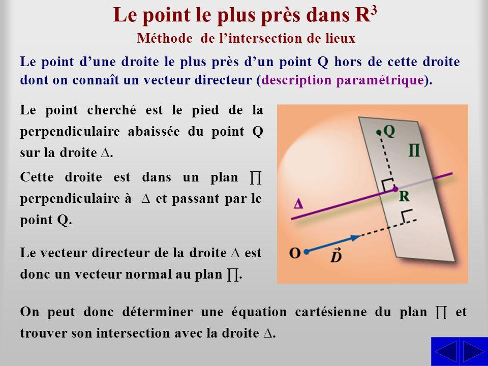 Le point le plus près dans R 3 Le point dune droite le plus près dun point Q hors de cette droite dont on connaît un vecteur directeur (description pa