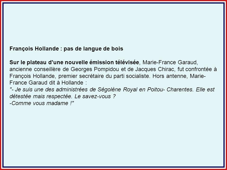 François Hollande : pas de langue de bois Sur le plateau d'une nouvelle émission télévisée, Marie-France Garaud, ancienne conseillère de Georges Pompi