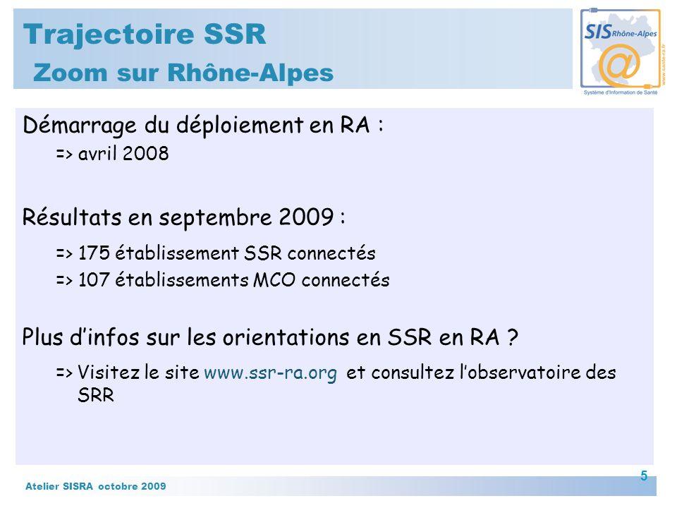 Atelier SISRA octobre 2009 6 Trajectoire SSR Zoom sur Rhône-Alpes En septembre 2009 : 80% des admissions en SSR réalisées via Trajectoire Comparaison : source PMSI 2007