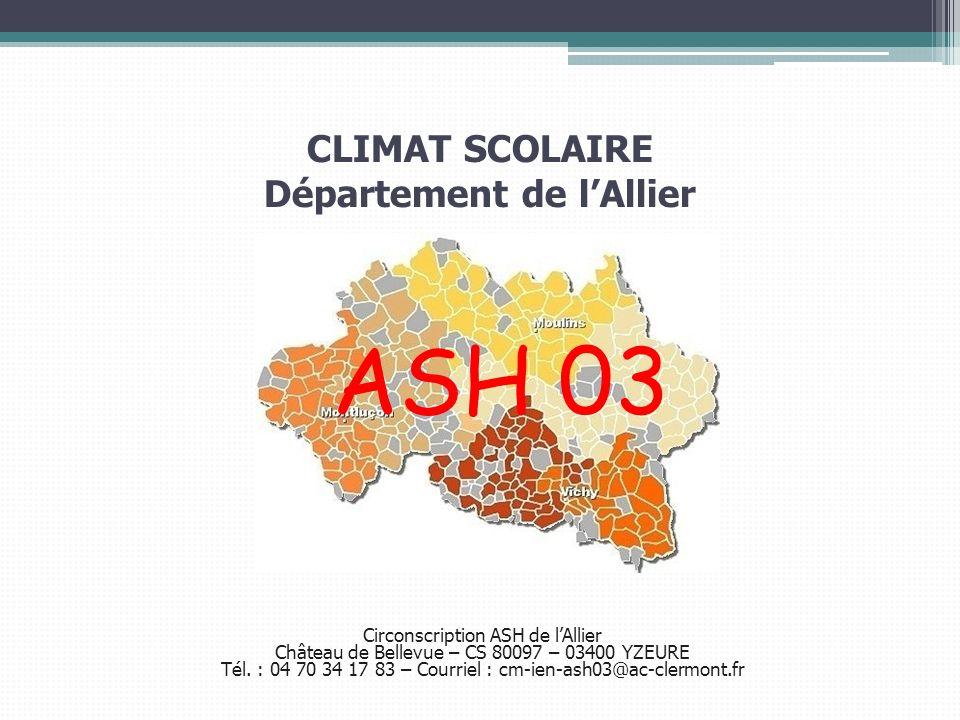 Circonscription ASH de lAllier Château de Bellevue – CS 80097 – 03400 YZEURE Tél. : 04 70 34 17 83 – Courriel : cm-ien-ash03@ac-clermont.fr CLIMAT SCO