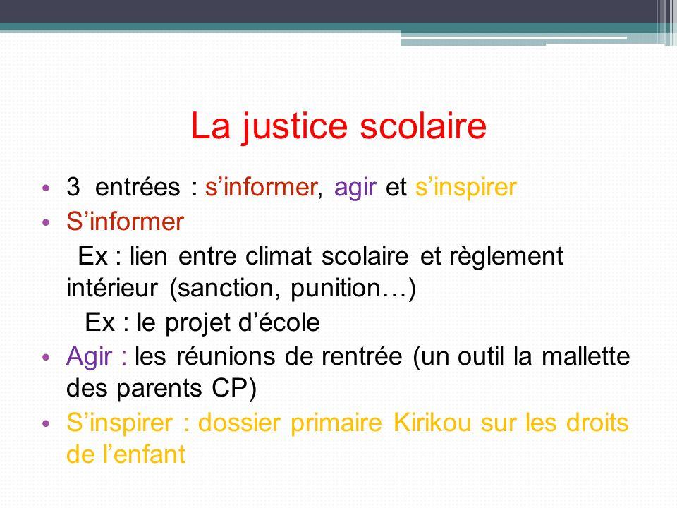 La justice scolaire 3 entrées : sinformer, agir et sinspirer Sinformer Ex : lien entre climat scolaire et règlement intérieur (sanction, punition…) Ex
