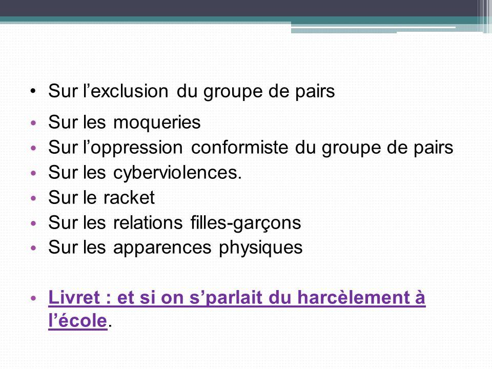 Sur lexclusion du groupe de pairs Sur les moqueries Sur loppression conformiste du groupe de pairs Sur les cyberviolences. Sur le racket Sur les relat