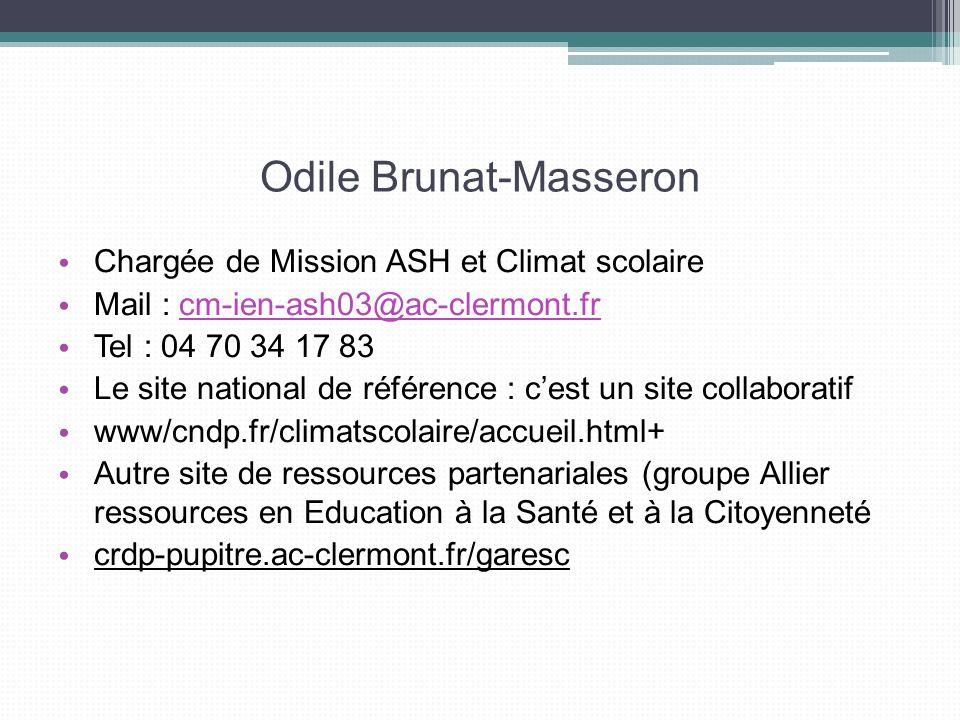 Odile Brunat-Masseron Chargée de Mission ASH et Climat scolaire Mail : cm-ien-ash03@ac-clermont.frcm-ien-ash03@ac-clermont.fr Tel : 04 70 34 17 83 Le