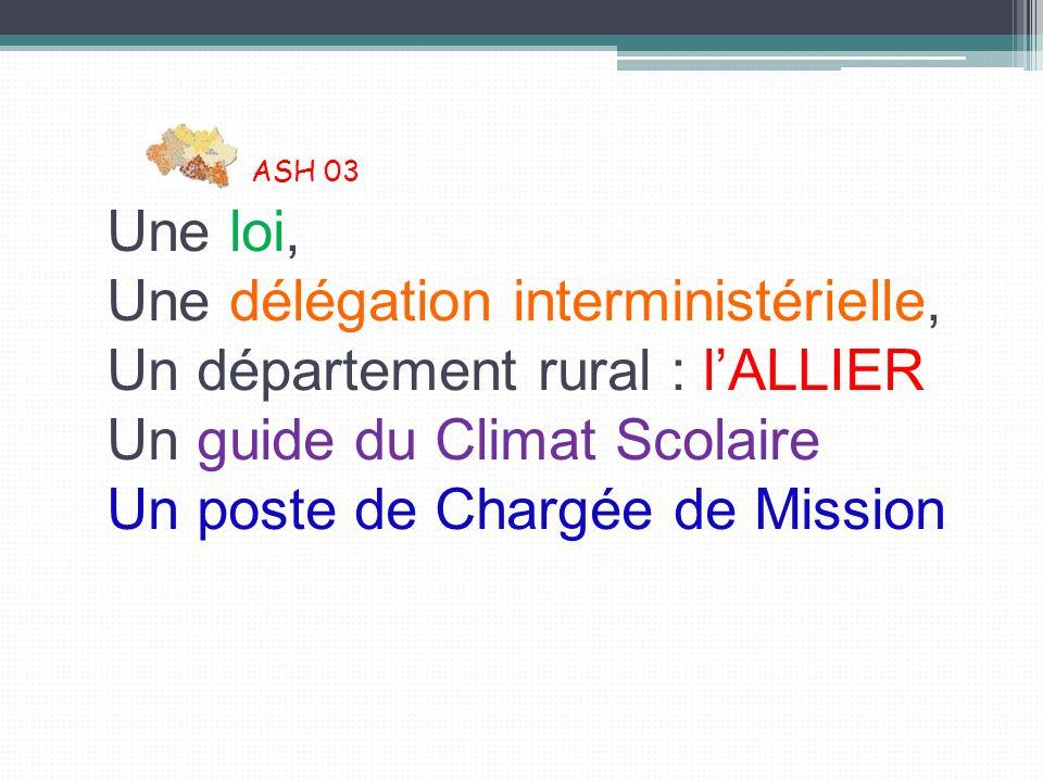 ASH 03 Une loi, Une délégation interministérielle, Un département rural : lALLIER Un guide du Climat Scolaire Un poste de Chargée de Mission