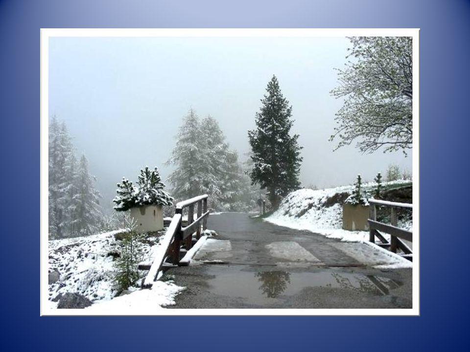Vers 10 heures, la neige arrête de tomber et lon peut partir à la découverte, dabord dans le village puis en suivant la petite route descendante. La t