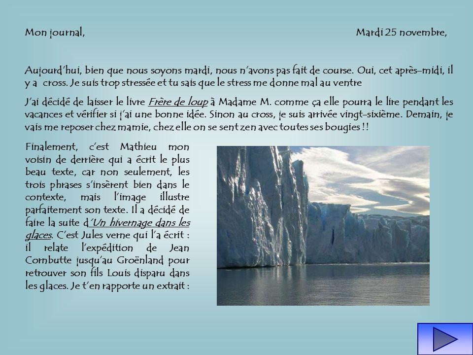 Mon journal, Mardi 25 novembre, Aujourdhui, bien que nous soyons mardi, nous navons pas fait de course.