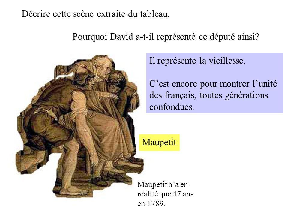 Maupetit na en réalité que 47 ans en 1789. Maupetit Pourquoi David a-t-il représenté ce député ainsi? Décrire cette scène extraite du tableau. Il repr