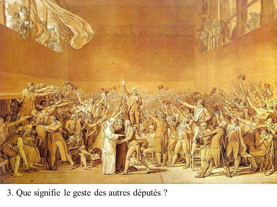 Esquisse du tableau de David Conservée au Musée national du château de Versailles 2ème étape de la lecture du tableau: Quel message David a-t-il voulu faire passer dans son tableau à propos de ce serment du jeu paume?