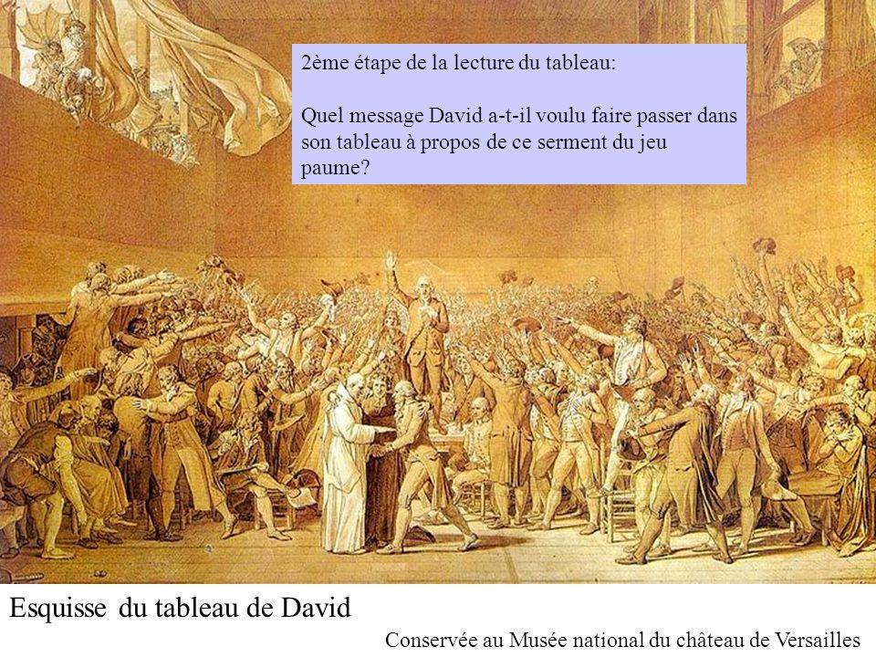 Esquisse du tableau de David Conservée au Musée national du château de Versailles 2ème étape de la lecture du tableau: Quel message David a-t-il voulu