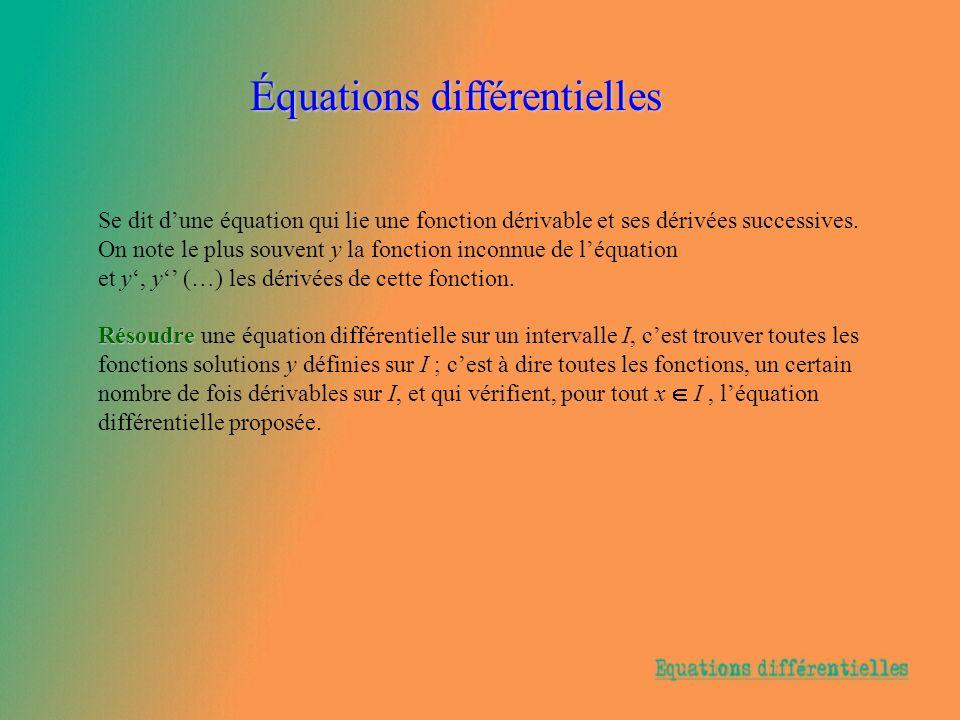 Équations différentielles Se dit dune équation qui lie une fonction dérivable et ses dérivées successives. On note le plus souvent y la fonction incon