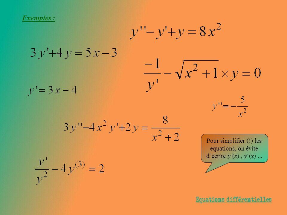 Exemple : On considère léquation différentielle : y = 3 y - 2.