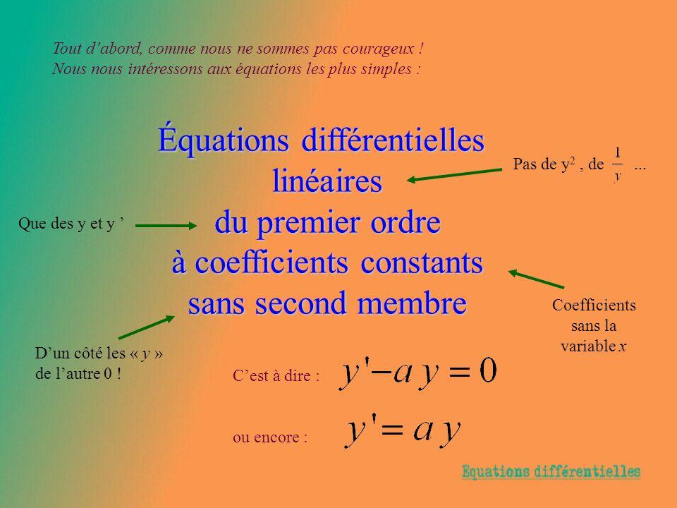 Équations différentielles linéaires du premier ordre à coefficients constants sans second membre Tout dabord, comme nous ne sommes pas courageux ! Nou