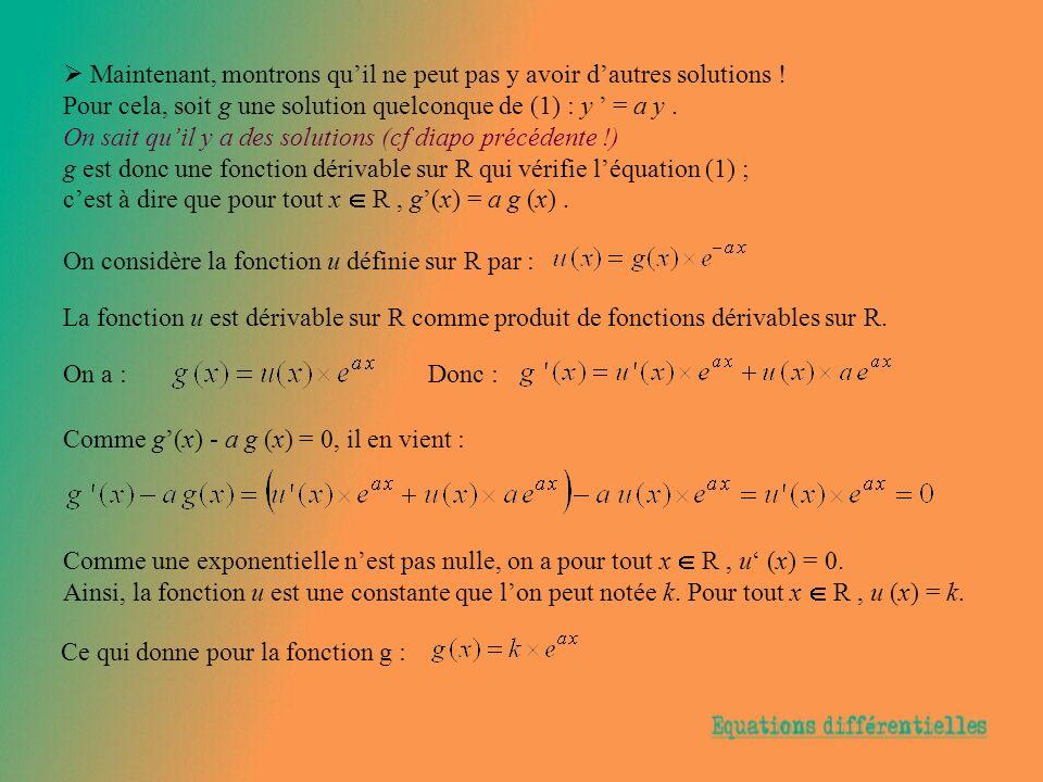 Maintenant, montrons quil ne peut pas y avoir dautres solutions ! Pour cela, soit g une solution quelconque de (1) : y = a y. On sait quil y a des sol