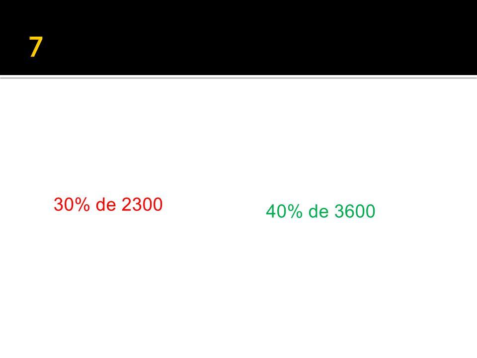 30% de 2300 40% de 3600