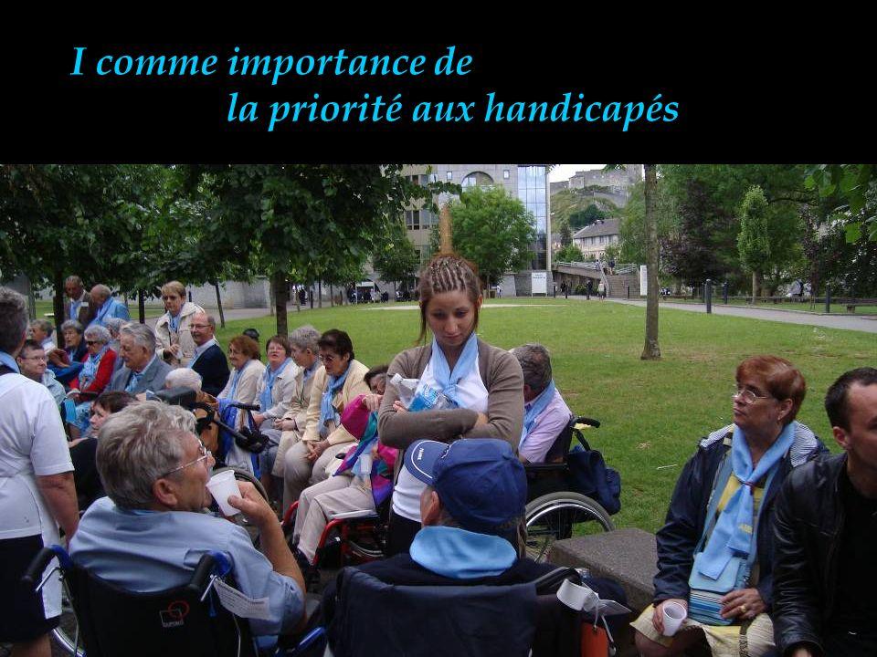 I comme importance de la priorité aux handicapés