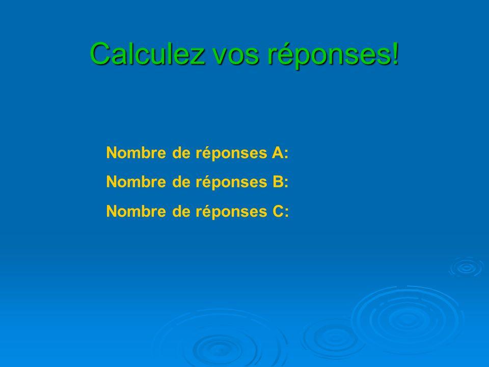 Calculez vos réponses! Nombre de réponses A: Nombre de réponses B: Nombre de réponses C: