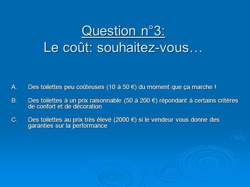Question n°3: Le coût: souhaitez-vous… A.Des toilettes peu coûteuses (10 à 50 ) du moment que ça marche ! B.Des toilettes à un prix raisonnable (50 à