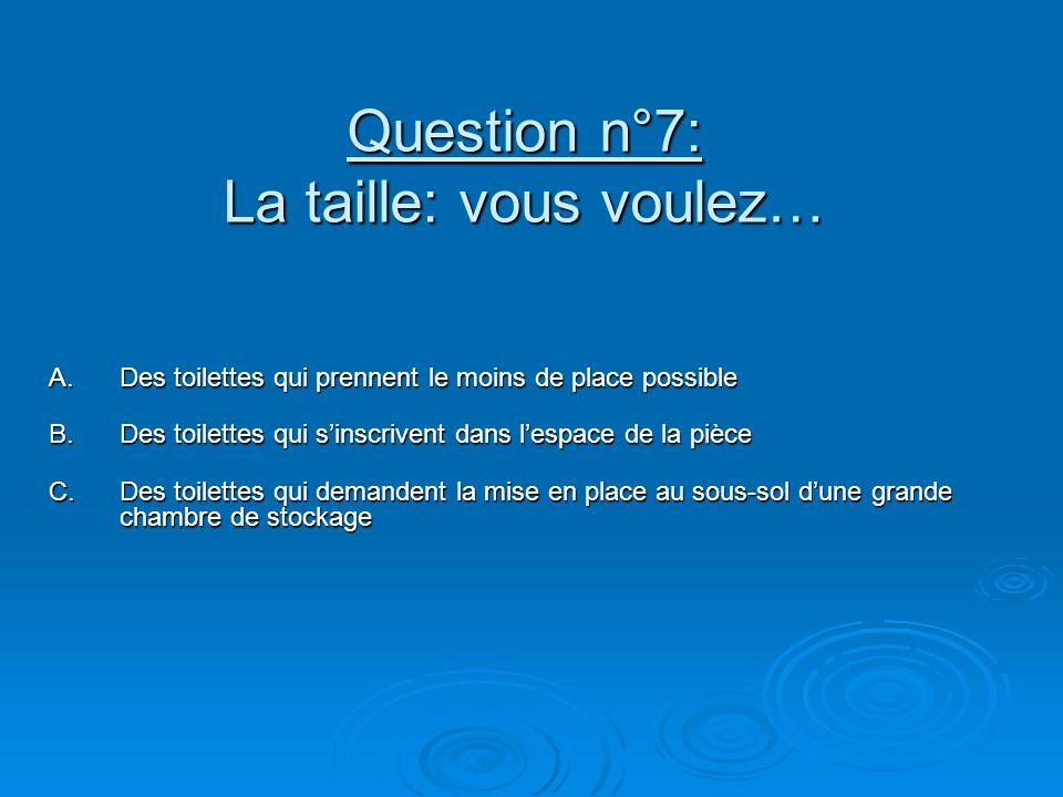 Question n°7: La taille: vous voulez… A.Des toilettes qui prennent le moins de place possible B.Des toilettes qui sinscrivent dans lespace de la pièce C.Des toilettes qui demandent la mise en place au sous-sol dune grande chambre de stockage