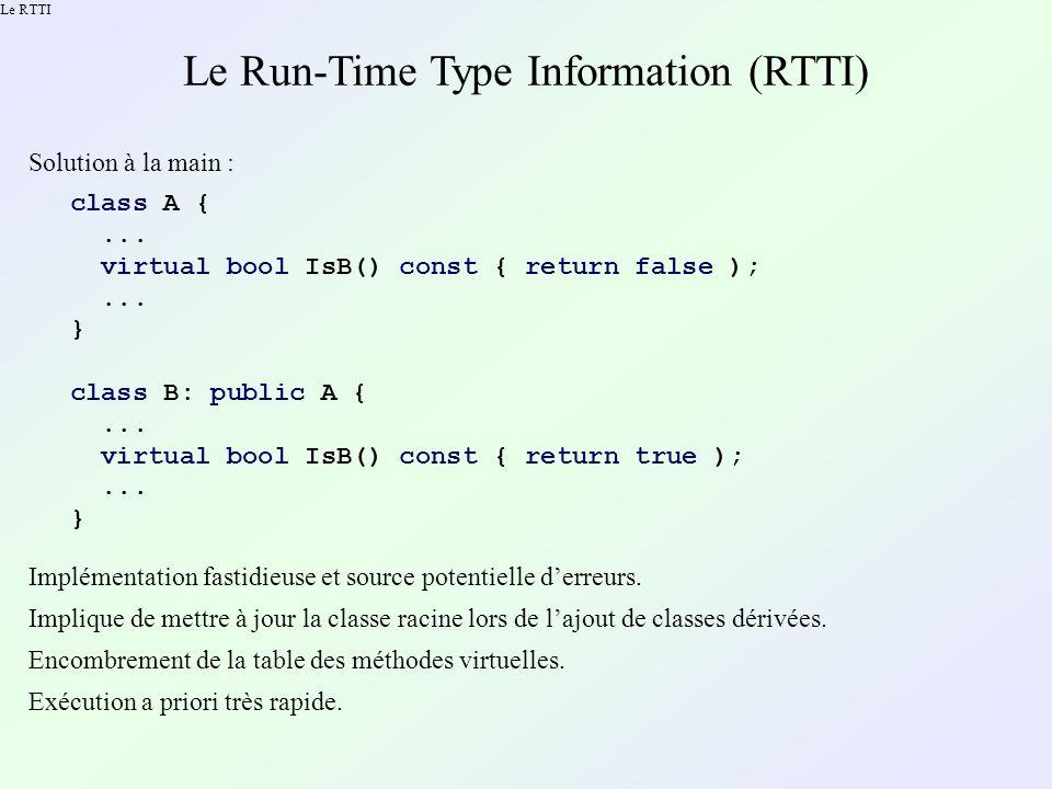 Le RTTI Le Run-Time Type Information (RTTI) Solution C++ : le RTTI .