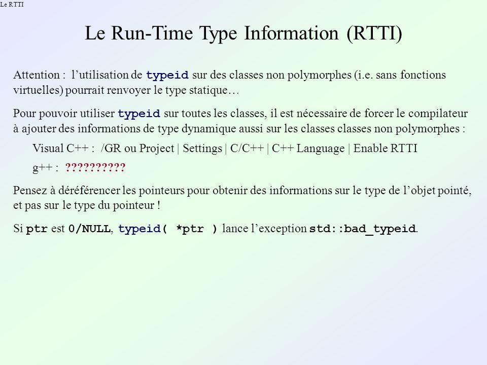 Lopérateur instanceof en C++ Rappel : type_info::before napporte aucune indication hiérarchique .