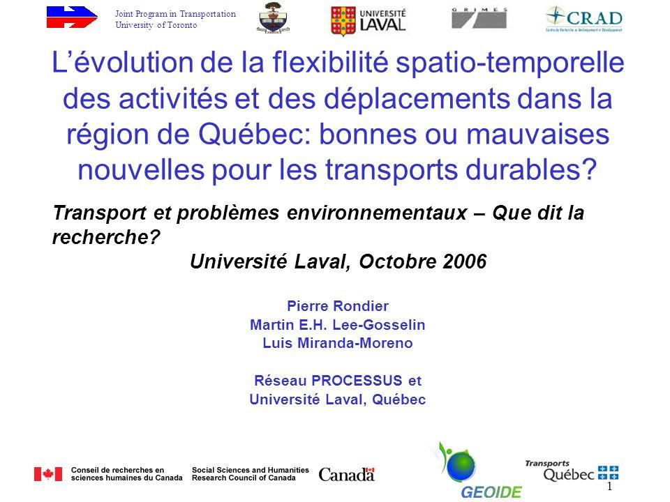 Joint Program in Transportation University of Toronto 1 Lévolution de la flexibilité spatio-temporelle des activités et des déplacements dans la région de Québec: bonnes ou mauvaises nouvelles pour les transports durables.