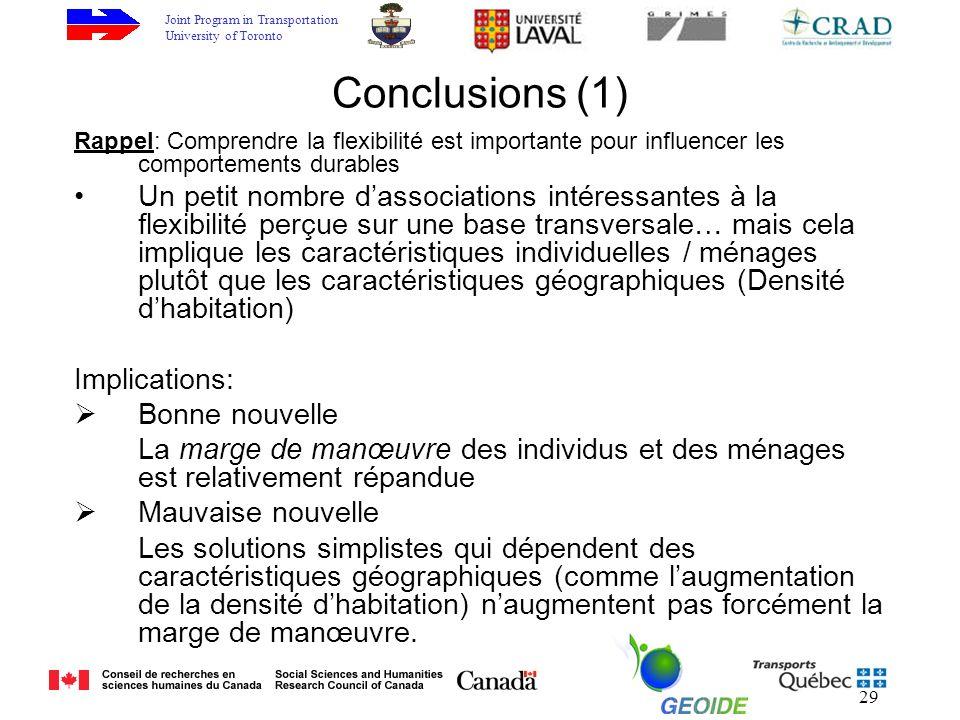 Joint Program in Transportation University of Toronto 29 Conclusions (1) Rappel: Comprendre la flexibilité est importante pour influencer les comporte
