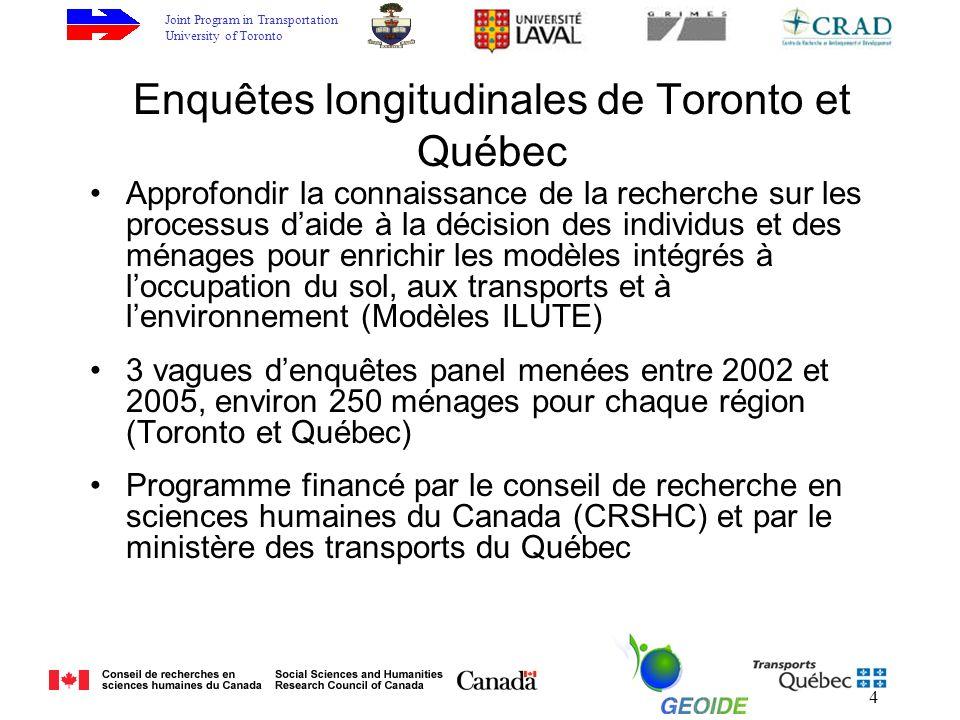 Joint Program in Transportation University of Toronto 4 Enquêtes longitudinales de Toronto et Québec Approfondir la connaissance de la recherche sur les processus daide à la décision des individus et des ménages pour enrichir les modèles intégrés à loccupation du sol, aux transports et à lenvironnement (Modèles ILUTE) 3 vagues denquêtes panel menées entre 2002 et 2005, environ 250 ménages pour chaque région (Toronto et Québec) Programme financé par le conseil de recherche en sciences humaines du Canada (CRSHC) et par le ministère des transports du Québec